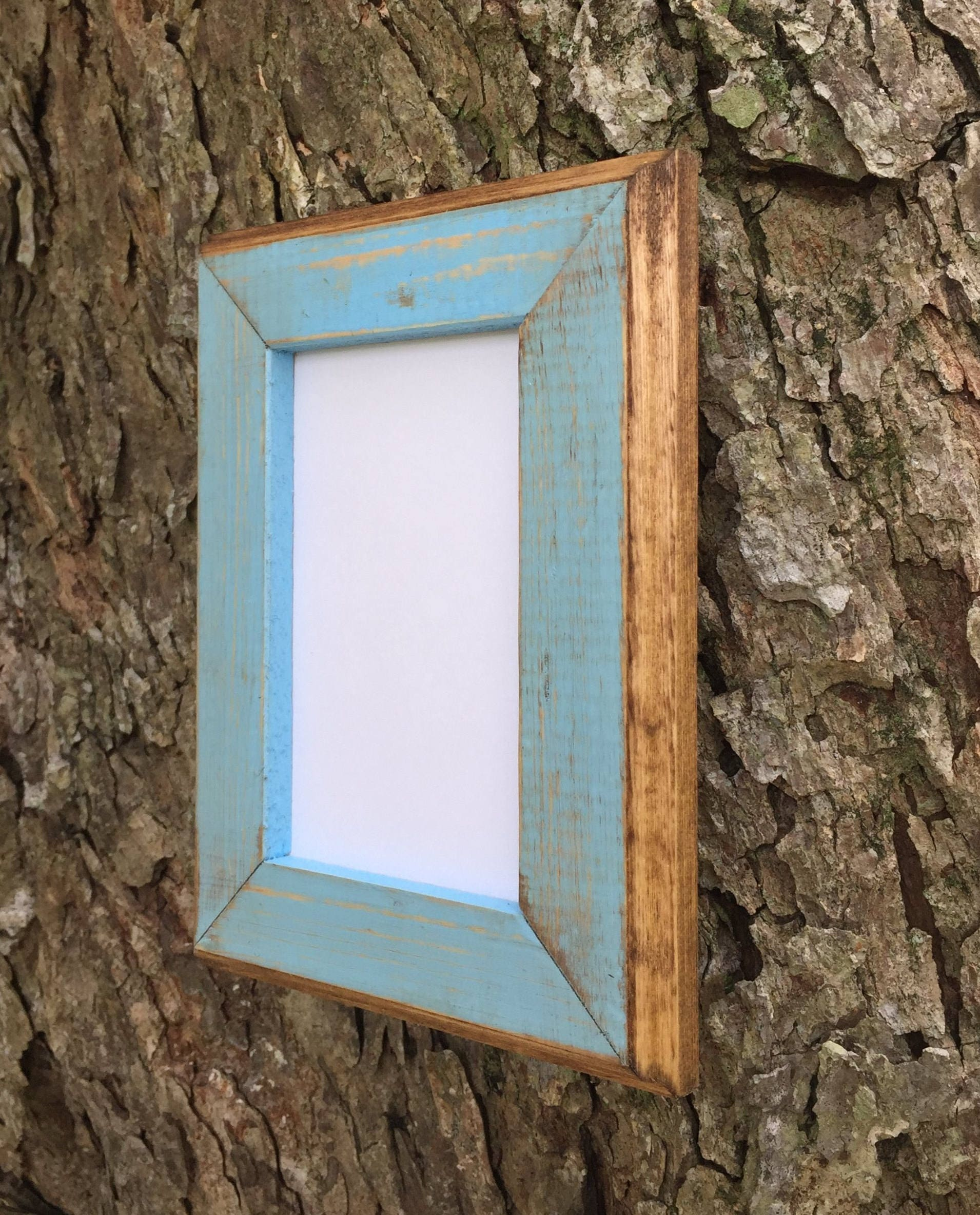 5 x 7 wood picture frame baby blue rustic weathered with. Black Bedroom Furniture Sets. Home Design Ideas