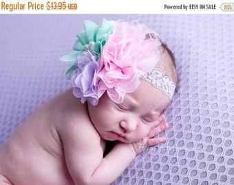 ON SALE Cluster Headband, Baby Headband, Newborn Headband, Girl Headband, Newborn Photography Prop, Girl Photo Prop