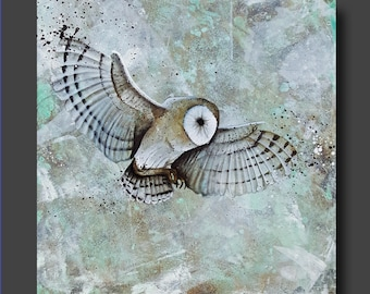 Simplicity Series - Owl Painting - Abstract Owl - Modern Contemporary Art by Britt Hallowell
