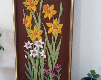 Vintage crewel flowers, yarn art, embroidered flowers, spring