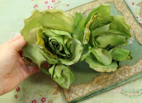 lovely large vintage millinery flower double green rose. Black Bedroom Furniture Sets. Home Design Ideas