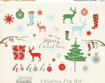 90% OFF Sale Christmas Clipart, Digital Clip Art, Digital download, Holiday Vectors, Christmas tree, reindeer, Stocking, Snowflakes, Deer, P