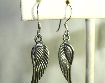 Pair Small Angel WING Dangle Earrings in STERLING Silver Handmade