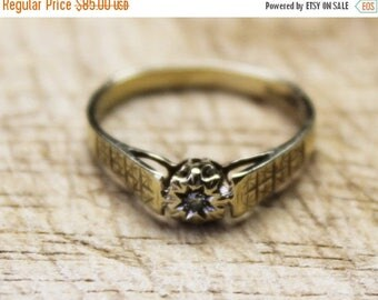 ON SALE Vintage Ladies Diamond Solitaire Ring Gypsy Wedding Engagement 9ct 9k Yellow Gold   FREE Shipping   Size O.5 / 7.5