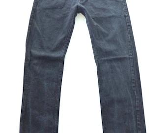 Men's Vintage QS S OLIVER PETE Button Fly Stretch Fitted Skinny Leg Black Denim Jeans Size W30 L31