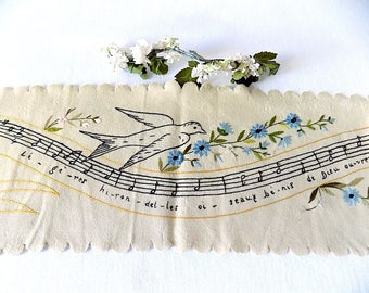 Piano Key Cover Hand Embroidered on Felt with French Lyrics Birds, Flowers & Staff of Musical Notation