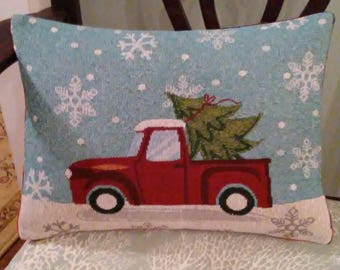 TWO left in stock - Red Truck  cover 12x16 Christmas Pillows, Cushions, Covers