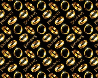 LOTR GOLD rings on black Lord O f the Rings Hobbit My Precious Quilt Fabric by the 1/2 yard
