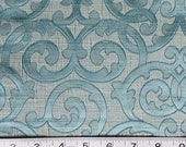 Teal Scroll Pattern Fabric