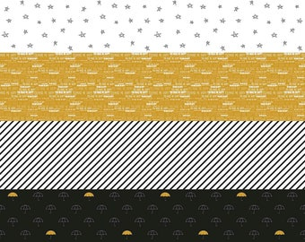 When Skies Are Grey Black Stripe by Simple Simon and Company for Riley Blake, 1/2 yard