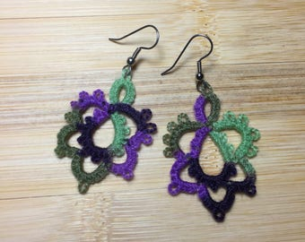 Tatting - Needle Tatted Ombre Earrings, Purple and Green - Ready to Ship