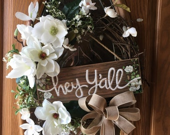 Hey Yall Magnolia Grapevine wreath