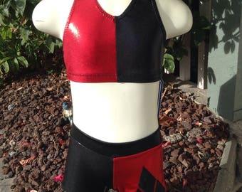 Harley Quinn cheer set - Girl's sizes -  swimsuit, dance costume