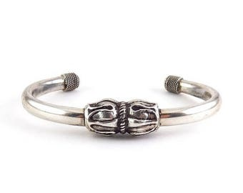 Sterling Silver Bali Style Cuff Bracelet with Flower Buds - Solid Silver
