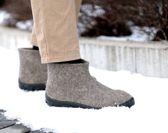 Short Ankle Boots Men Wool Boots, Chelsea Boots Large Size Shoes Grey felted boots, Winter boots felt Men TR Rubber soles - Natural Organic
