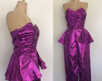 1980's Purple Shimmery Lame Peplum Wiggle Dress Cocktail Party Dress Size XS Small By Maeberry Vintage