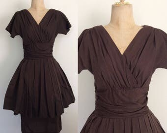 1950's Chocolate Brown Dress w/ Peplum Tulle Dress Size XS Small by Maeberry Vintage