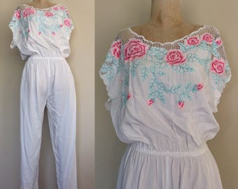 1980's Embroidered White Jumpsuit Cotton Jumper Size Small Medium by Maeberry Vintage