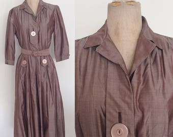 1950's Purple/Brown Cotton Shirtwaist Dress Size Small Medium by Maeberry Vintage