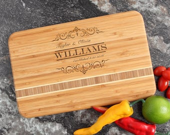 Personalized Cutting Board, Personalized Wedding Gift, Custom Engraved Bamboo Cutting Boards, Bridal Shower, Housewarming Gifts-12 x 8 D34