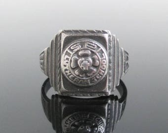 1931 Sterling Silver Class Ring - St. Paul Lutheran School, Vintage Size 7 1/4