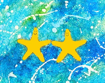 Starfish artwork, childrens artwork beach cottage home decor, giclee on acid-free fine art paper with the look of an original watercolor