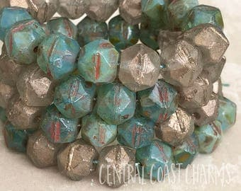 Turquoise Gold Nuggets - 10mm Czech English Cut Chunky Picasso Beads (15) Champagne Luster - Antique Cut Tumbled Boho - Central Coast Charms