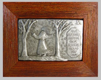 "Rumi: ""Hear blessings dropping their blossoms around you""; Handmade Framed Tableau"