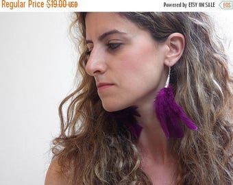 CIJ SALE Feather Dangle Earrings, Magenta Feather Cluster, Silver lever Back Hooks