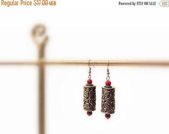 CIJ SALE Silver Dangle Earrings, Red beads, Silver Hooks, Bohemian  Asian Style