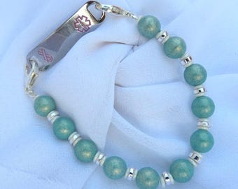 Interchangeable Stretchy Beaded Medical ID Tag Watch Bracelet