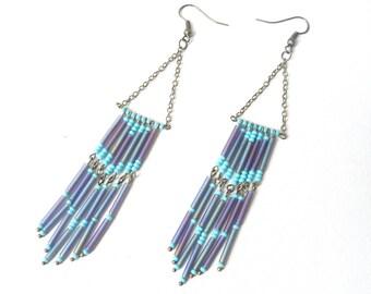 Tie-dye purple fringed earrings