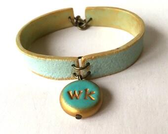 Monogram Bangle, Letter Stamped Bracelet, Bridesmaid Boho Jewelry, Aqua Bracelet, Turquoise and Gold, Personalized,MOB, MOG and Bridesmaids