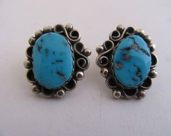 "Sterling and Turquoise ""Raymond Gasper"" Earrings"