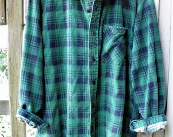 Funky Flannels/ Retro Grunge/ Cool, Worn, Washed, Faded, Soft Flannel Shirt/ Man's Large Vintage Puritan/ Thrifted Shabbyfab Funwear