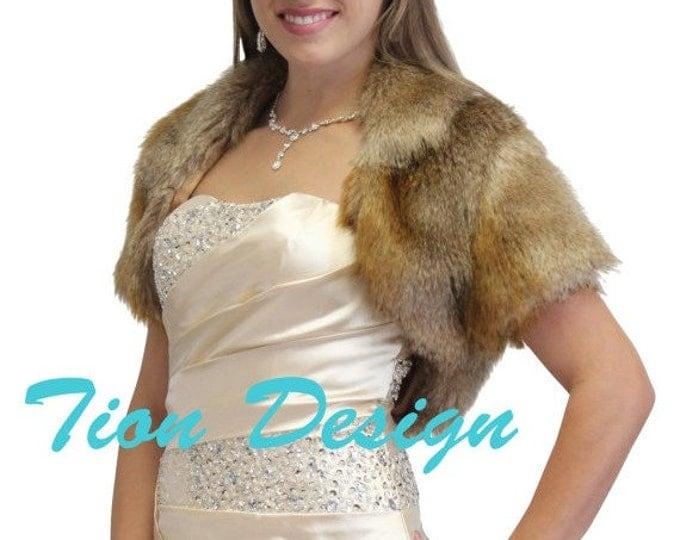Easter Sale Faux fur jacket Vintage Brown, faux fur wrap, faux fur cape, faux fur shrug, bridal shrug, bridal wrap