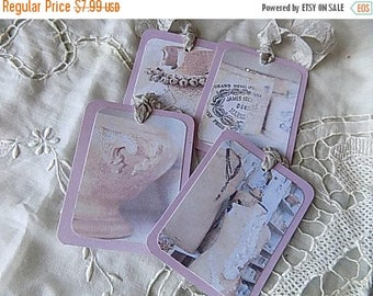 4 Nordic French Inspired Hang Tags Cottage Chic Gift Tag Pink Gray