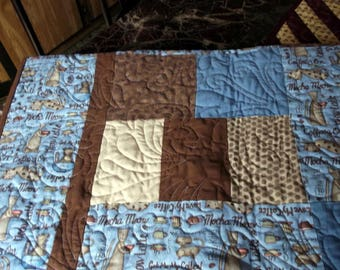"""COFFEE/CATS QUILT Lap/Twin/Bunk/Couch Throw 62""""X84"""" blue/brown/beige/cream Cats Mocha Latte Quilt"""