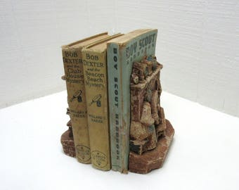 Vintage Chalkware Bookends Woman Spinning Wheel Fireplace Hearth