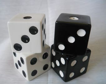 Black and White Dice Salt and Pepper shakers - vintage, collectible, gambling
