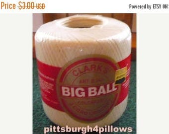 CHRISTMAS IN JULY New Listing - Clark's Big Ball Crochet Thread - 500 Yards - Size 30 - Cream - 42