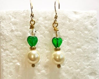 Hook Earrings Creamy White, Swarovski Pearls Green Czech Crystal Hearts Clear Crystal Bicones Gold Spacers Earrings 14K Gold Filled EarWires