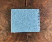 Upcycled Blue Chambray Cloth Bifold Wallet with Black and Tan Interior