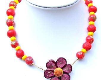 Necklace yellow flowered orange, red, glass and polymer clay model