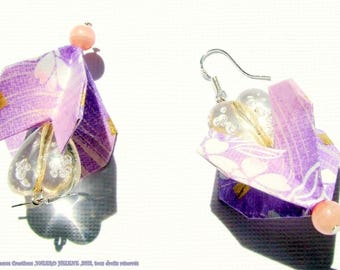 'Purple heart', ORIGAMI earrings