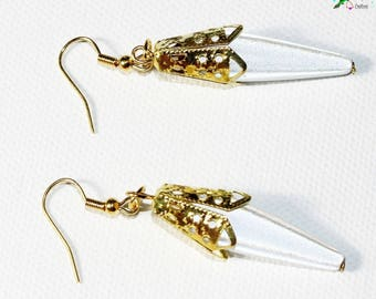 Earrings inspiration Eastern white pearly, shiny