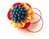Bold Colors Red Peach Blue Fabric Flower Hair Clip with Red Wire Hoops Tsumami Kanzashi Fiber Art Statement Barrette