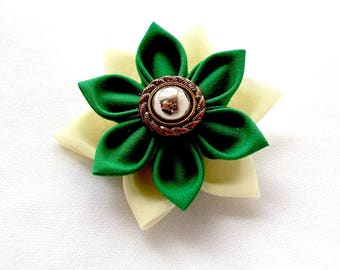 Pretty Green Flower Hair Barrette Tsumami Kanzashi Fabric Origami Clip