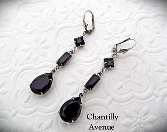 Jet Victorian Earrings, Rhinestone Earrings, Black Jewel Earrings in Silver, Victorian Jewelry