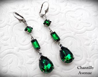 Emerald Victorian Earrings, Victorian Jewelry Green Jewel Earrings in Silver